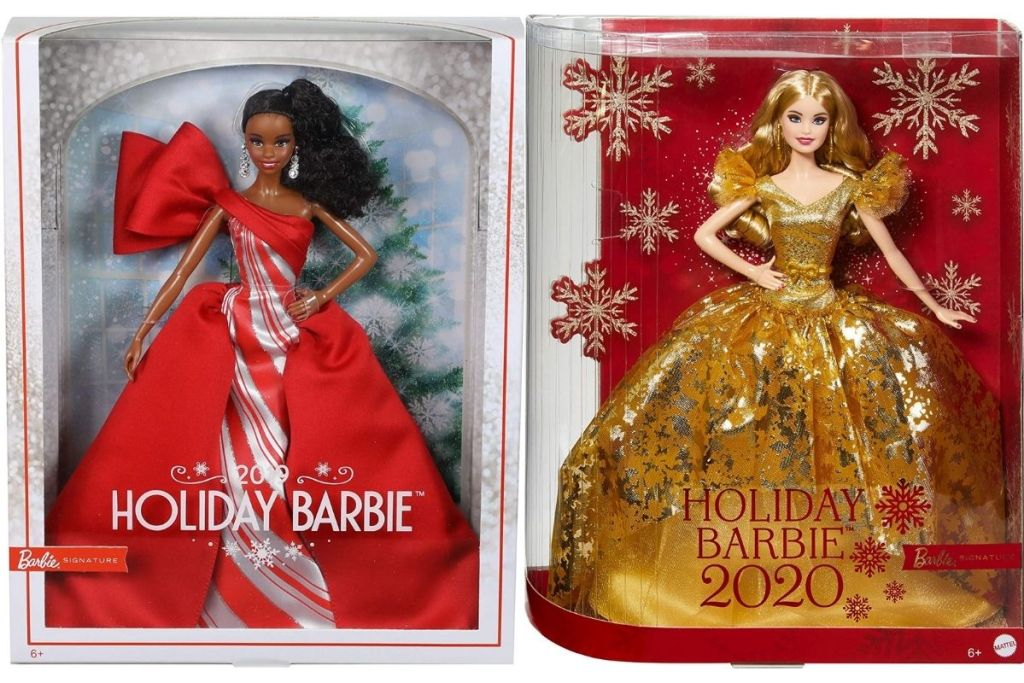 2019 and 2020 Holiday Barbie in packaging