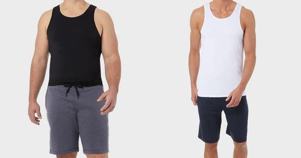 two men wearing tank tops