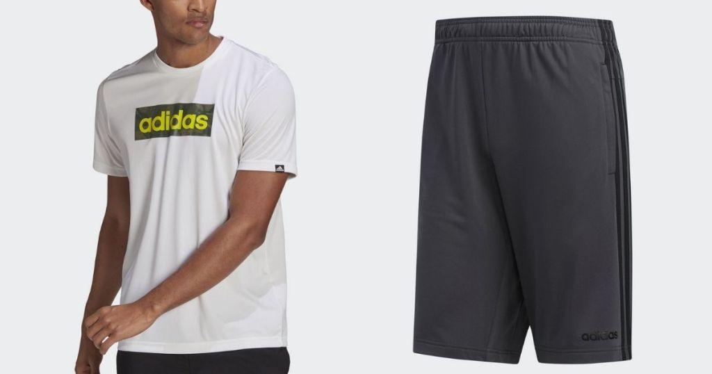 man wearing Adidas Men's Tee and Shorts