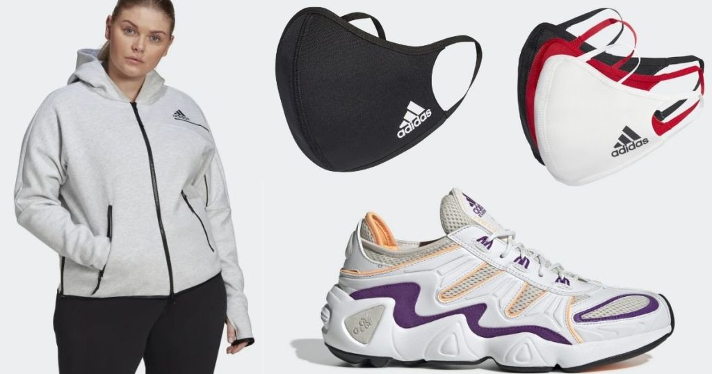 Adidas Plus Jacket Sneakers and Face Masks