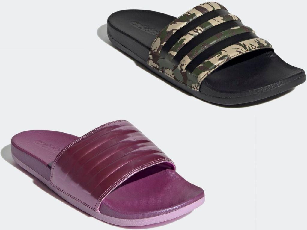 Adidas women's and men's slides