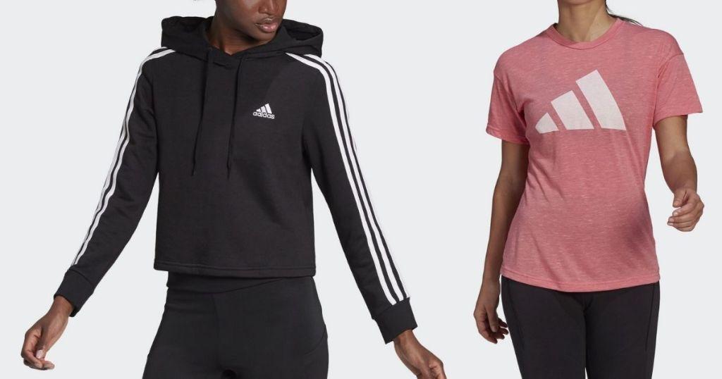 ladies wearing Adidas Women's Hoodie and Tee