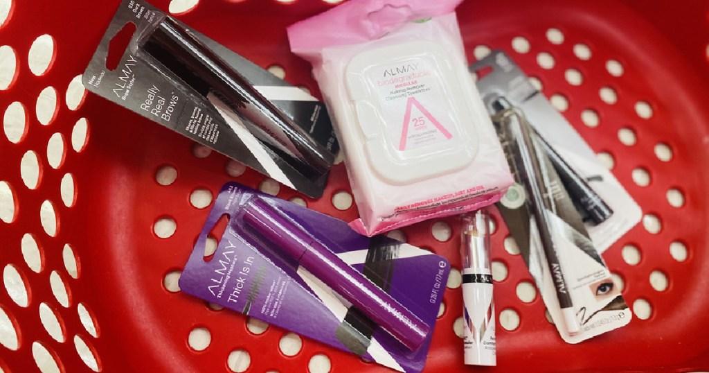 eyeliner, mascara, and makeup wipes in shopping cart