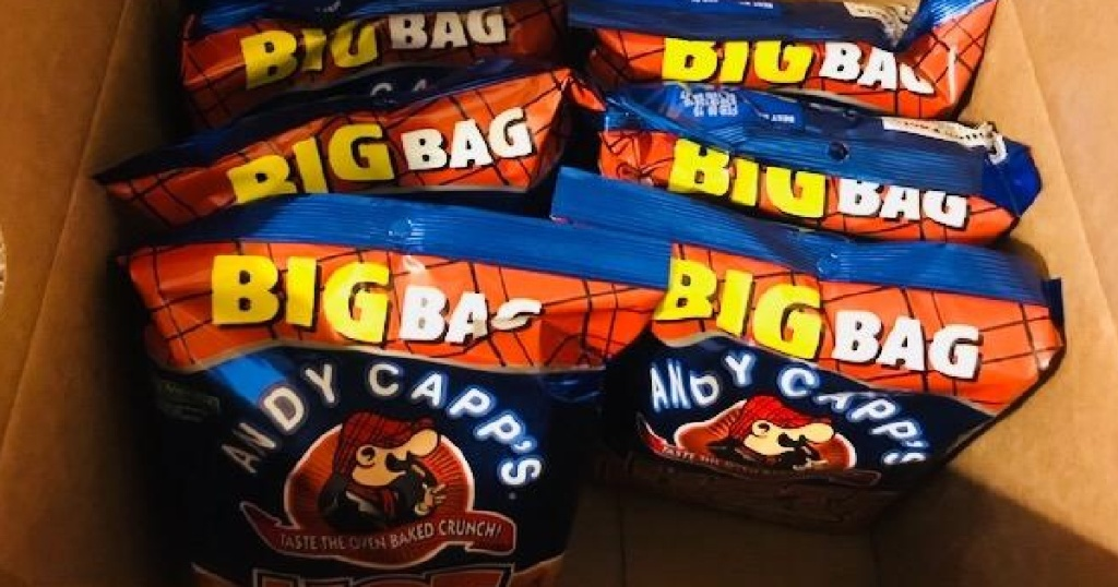 large box of andy capp hot fries snacks