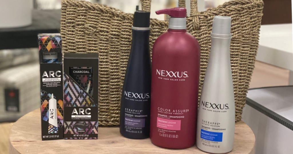 teeth whitening products and shampoo on shelf