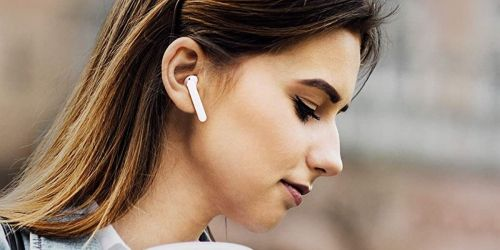Waterproof Wireless Earbuds w/ Charging Case Only $14.81 on Amazon   Pair Together or Wear Just One