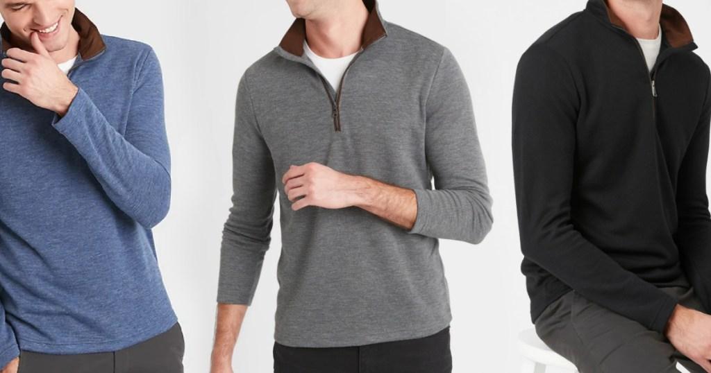 Three men wearing pullovers