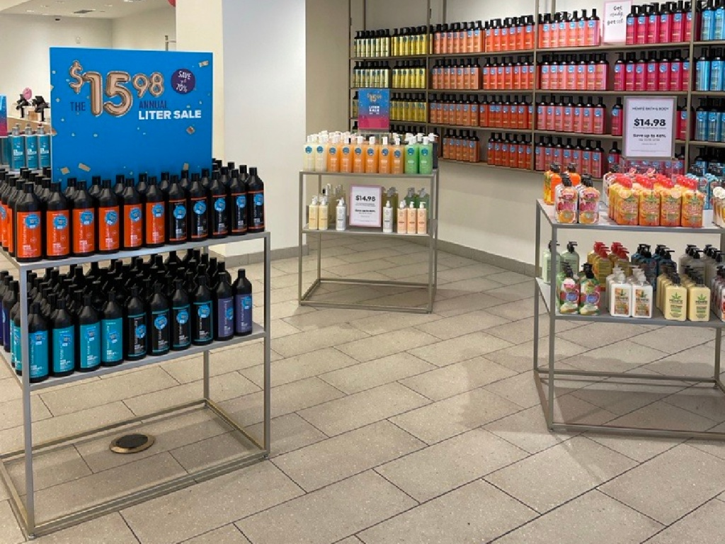 Beauty Brands Annual Liter Sale in-store display