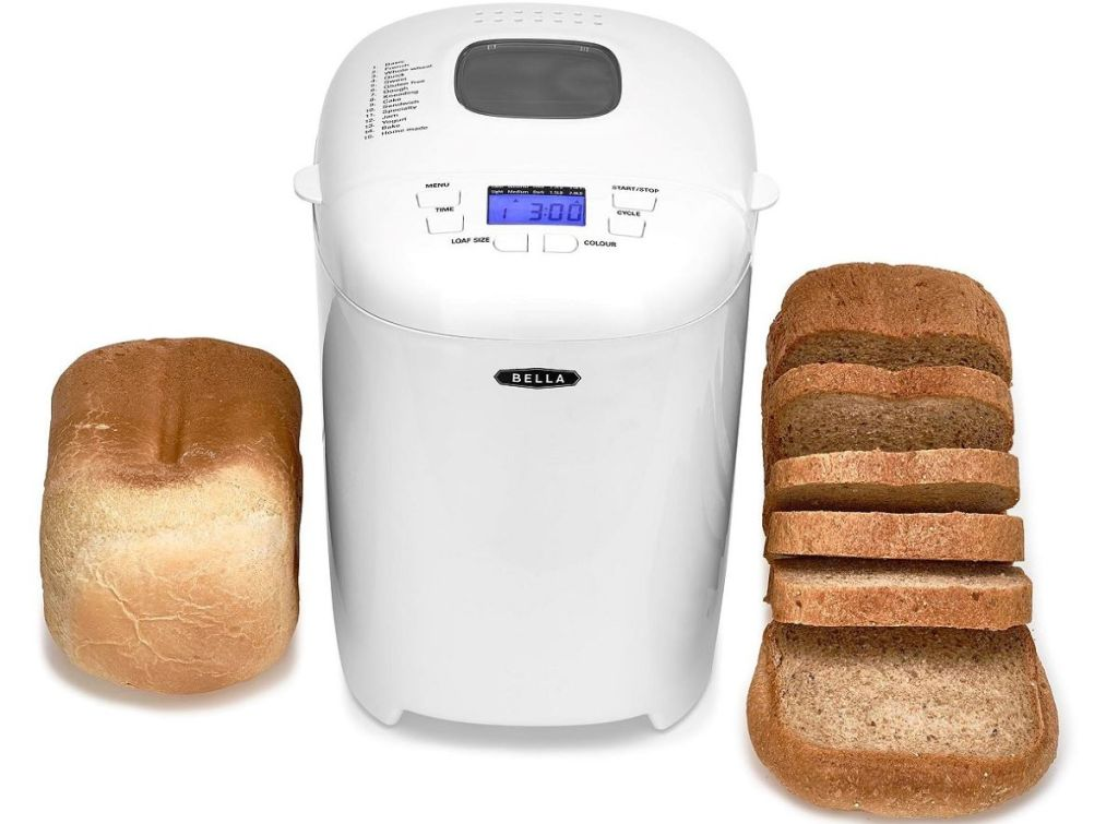 bread maker with bread next to it