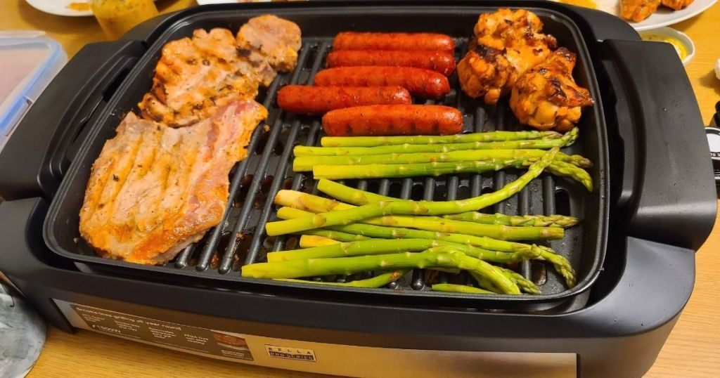indoor grill with food on it