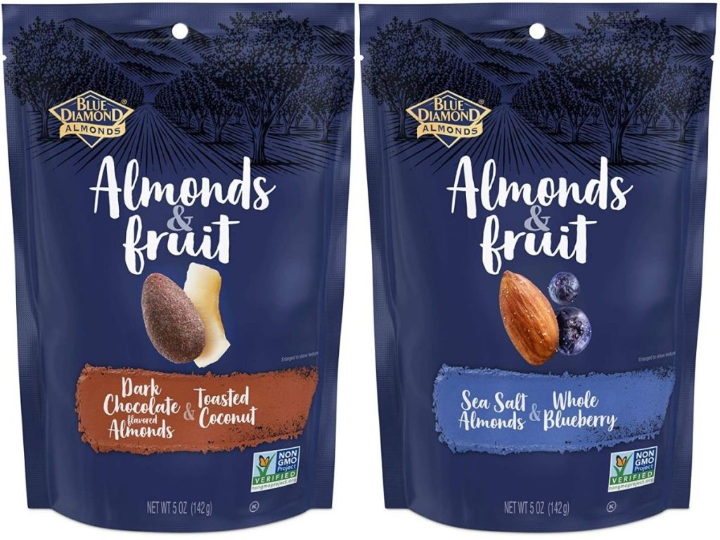 Two Bags of Blue Diamond Almonds & Fruit