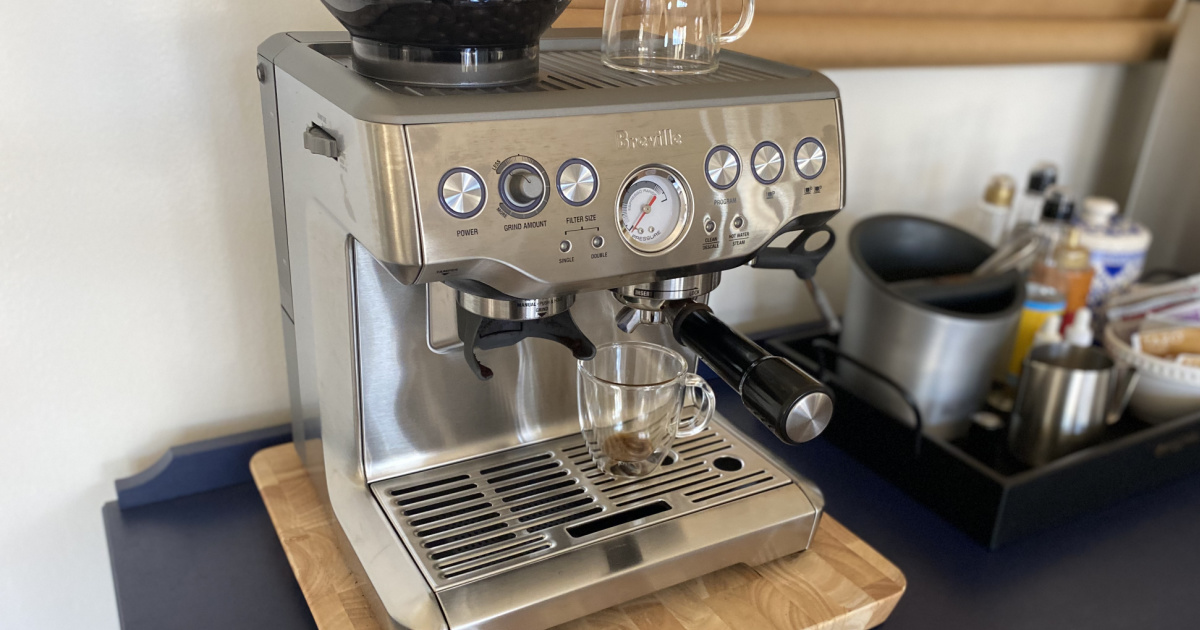 Large espresso machine on counter top