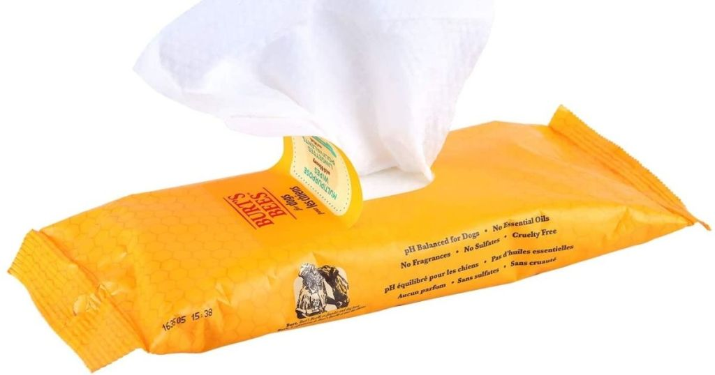 pack of open Burt's Bees Dog Wipes