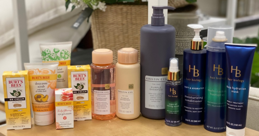 facial care and hair care products on shelf