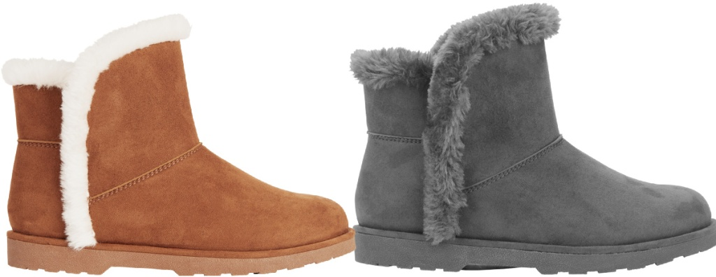 Calistoga Vegan Suede Faux Fur Lining and Trim Ankle Booties
