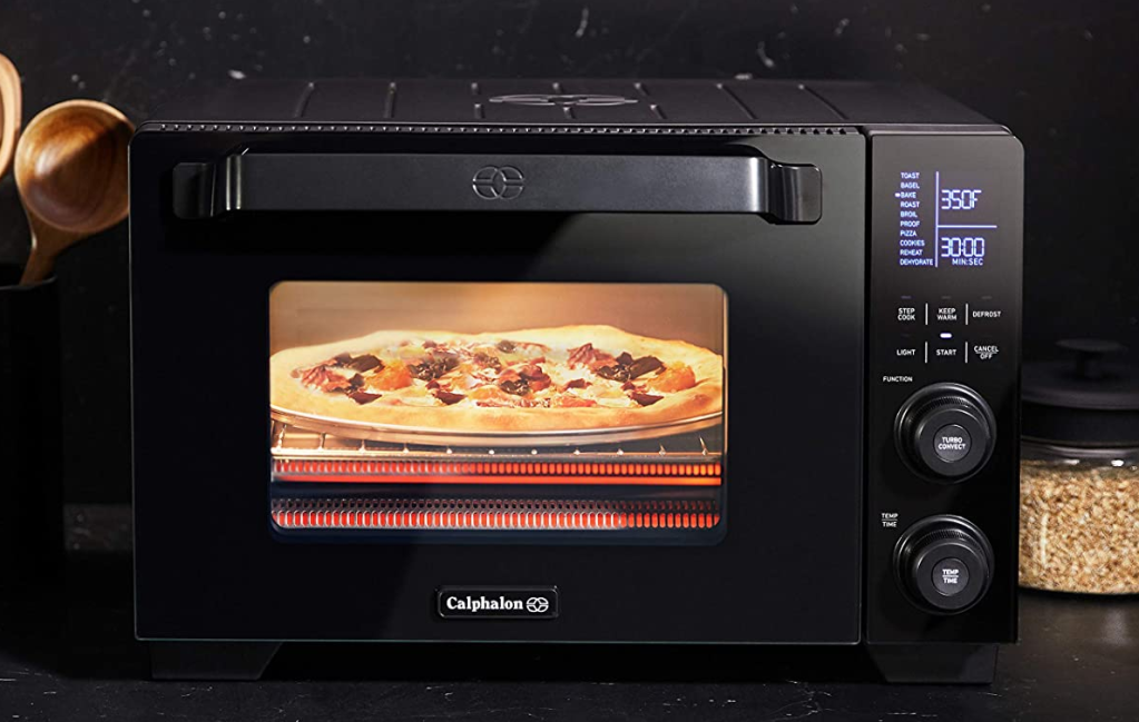 Calphalon Toaster Oven with pizza in it