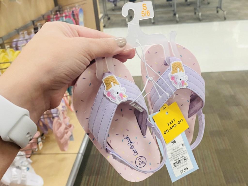 Unicorn themed kids sandals