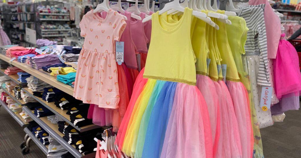 colorful dresses on racks