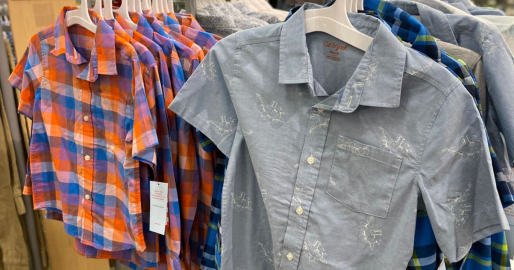 boys shirts on rack