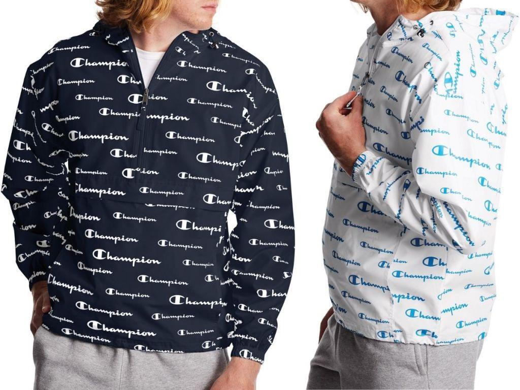 two Champion men's windbreaker jackets