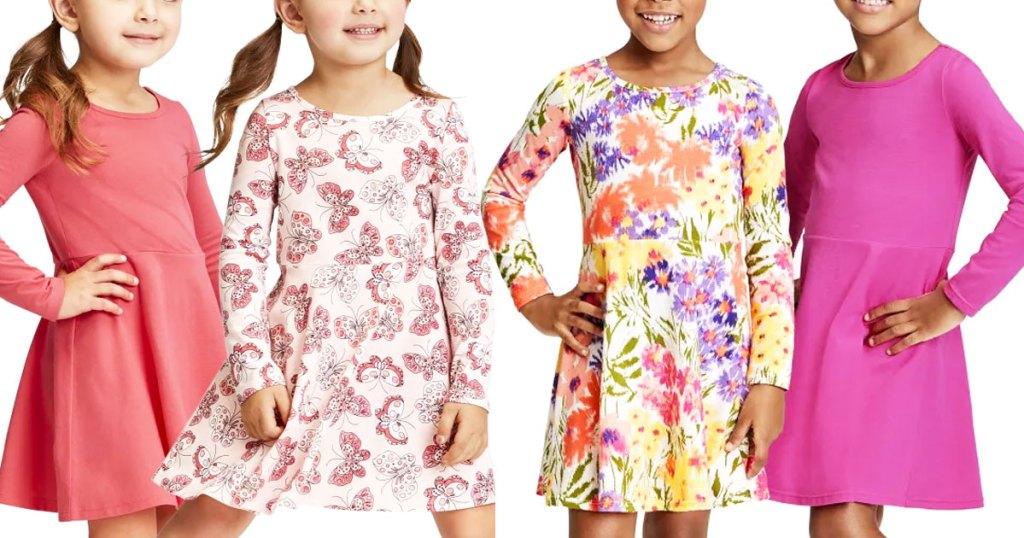 four girls in long sleeve dresses