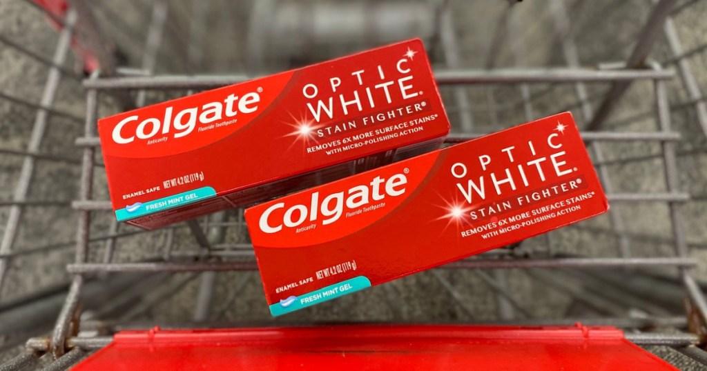 Colgae Optic White Toothpastes on shopping cart at CVS