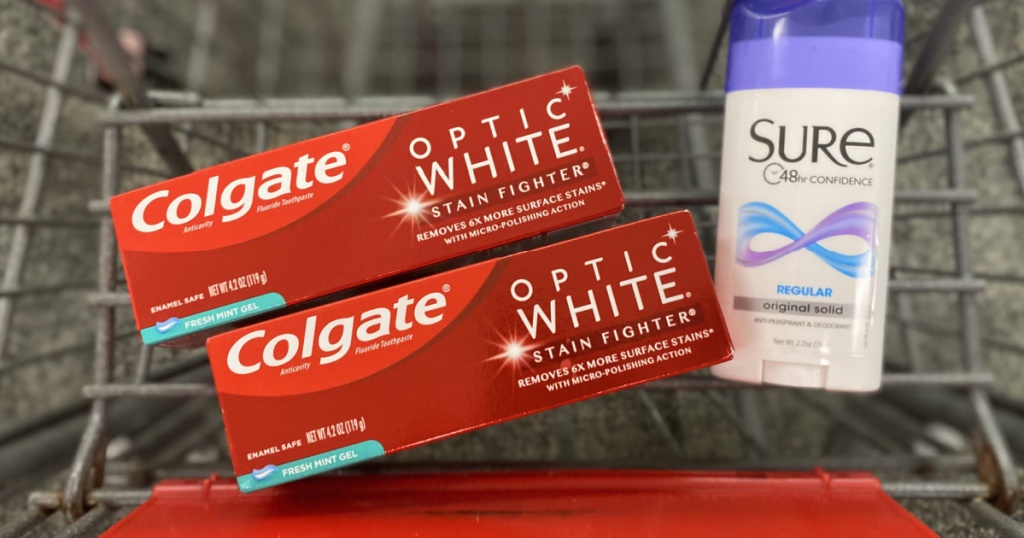 toothpaste and deodorant in cart
