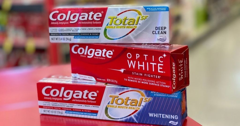 3 Colgate Toothpastes stacked