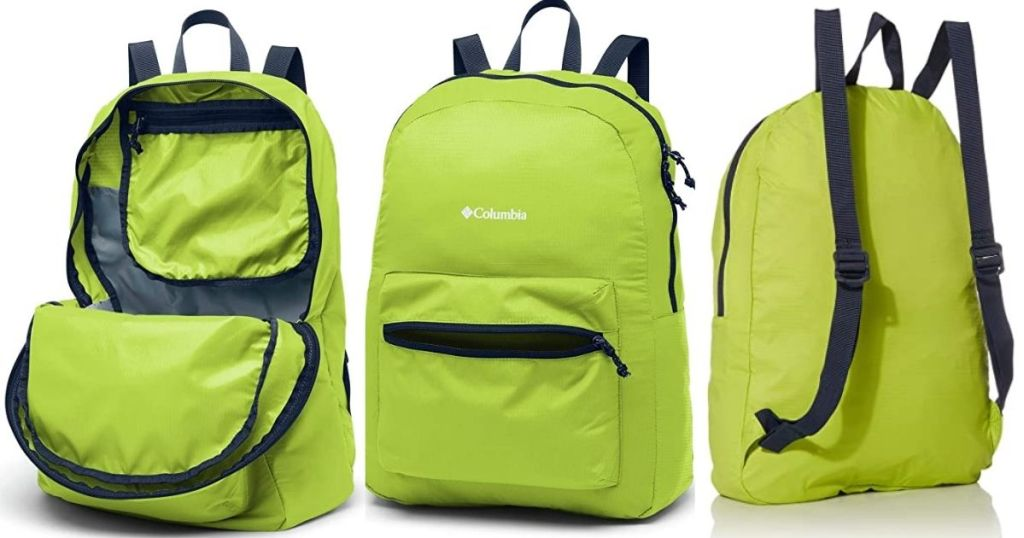 3 views of Columbia Green Packable Backpack