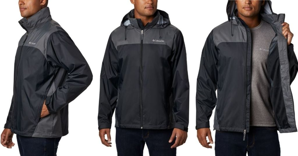 3 views of man in Columbia Men's Glennaker Lake Rain Jacket