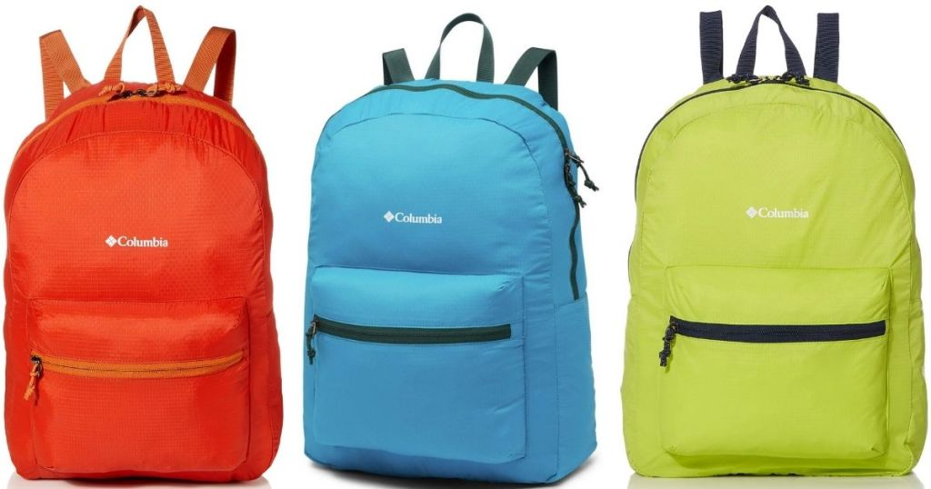 3 colors of Columbia Packable Backpacks