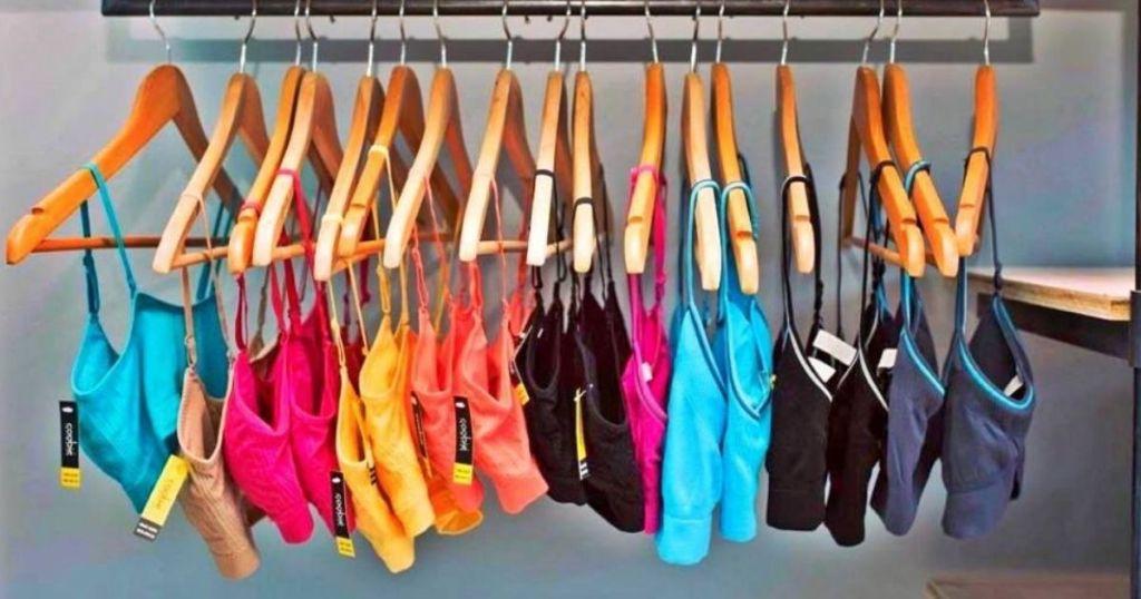 row of bras on hangers