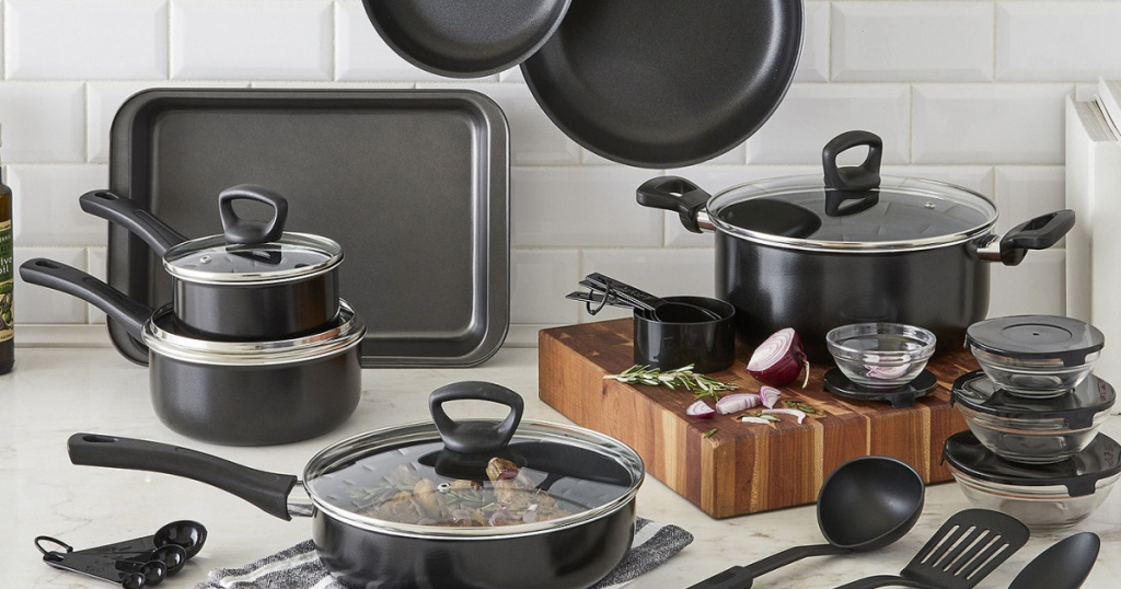 black cookware set on kitchen counter