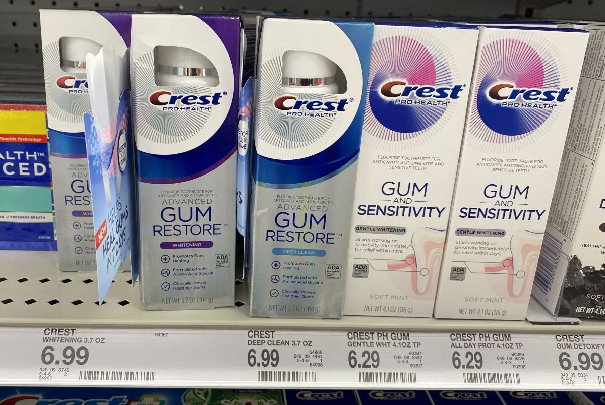 Crest toothpastes on the shelf at Target