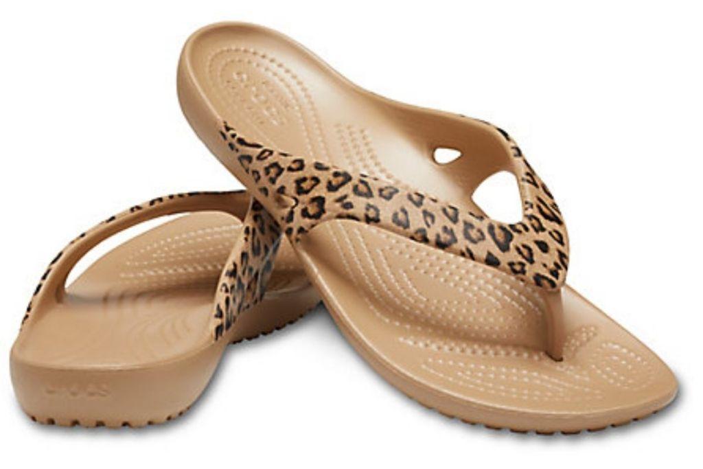 pair of Crocs Kadee Leopard Flips