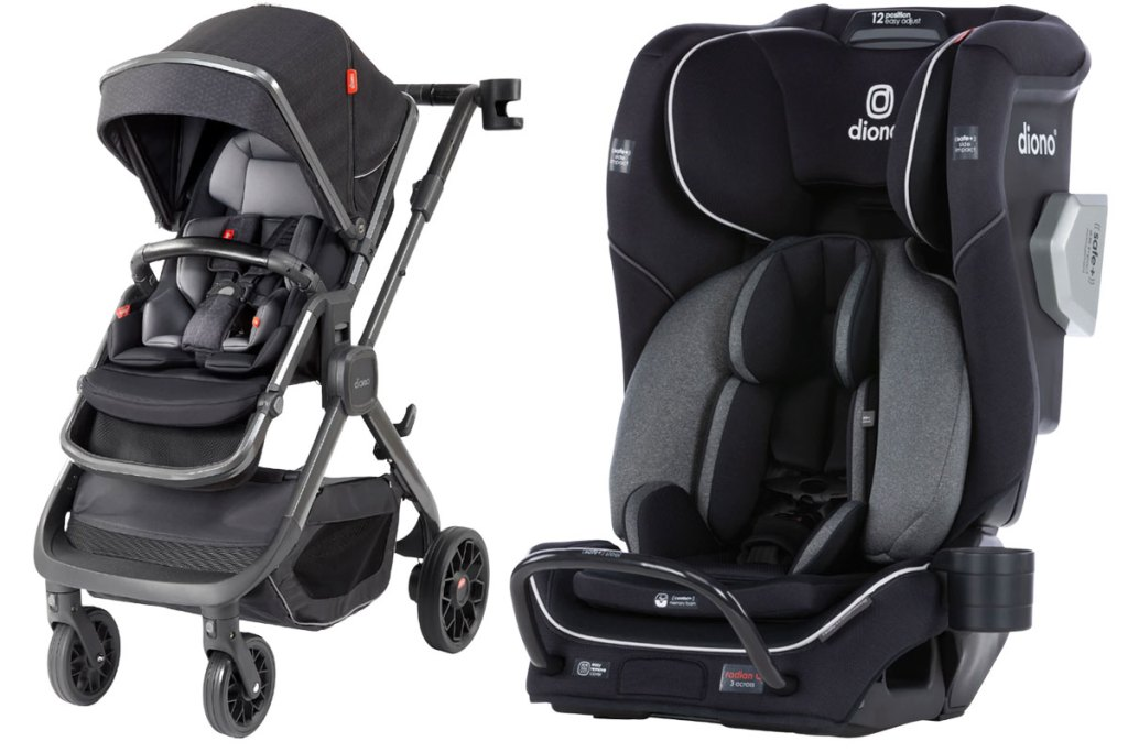 black and grey diono car seat and stroller