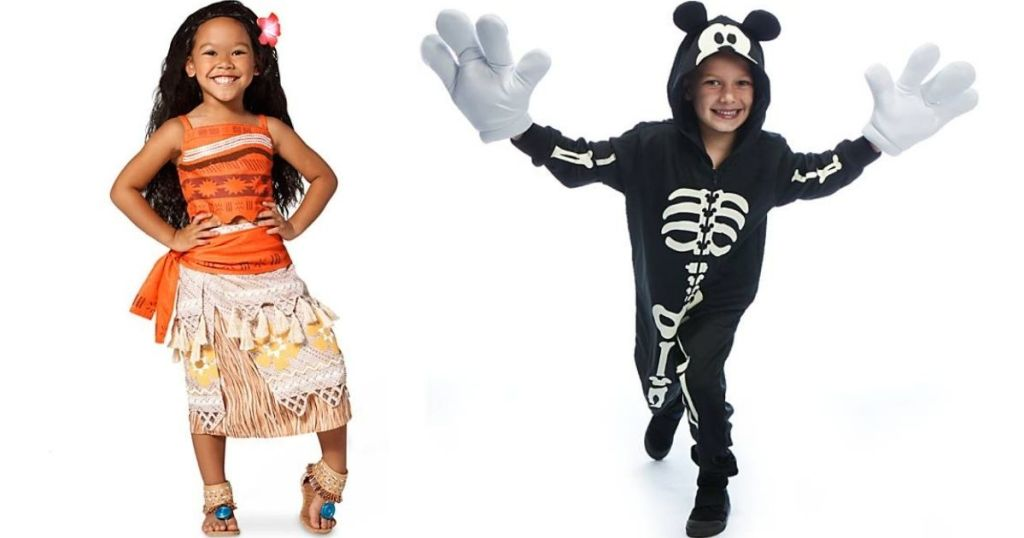 two kids wearing Disney costumes