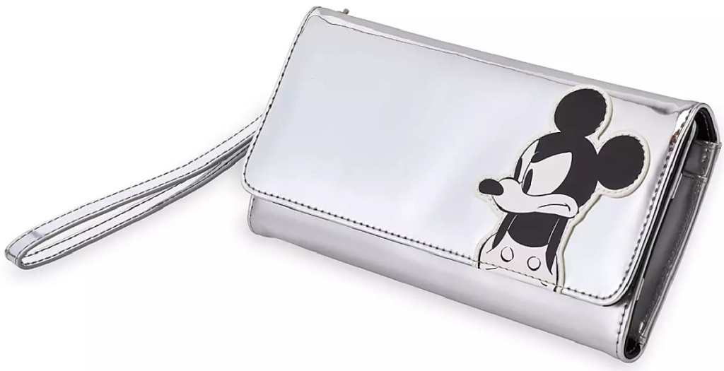 disney mickey mouse gray silver wallet