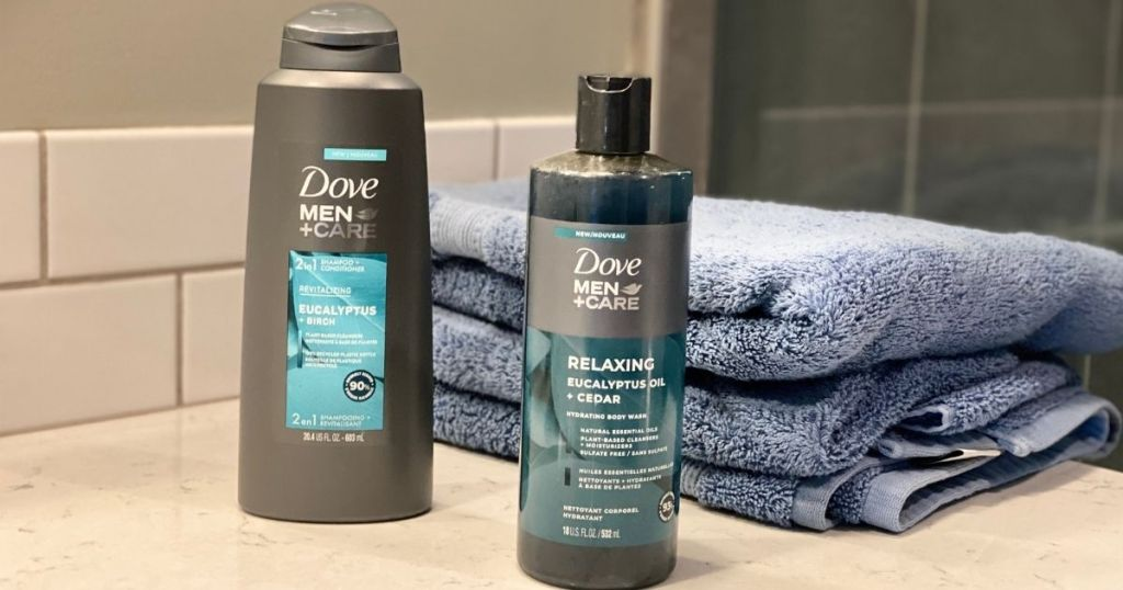 Dove Men+Care products by a towel