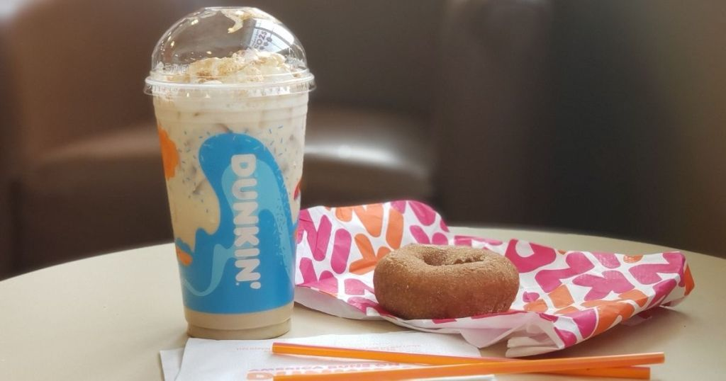 Dunkin donuts drink and donut