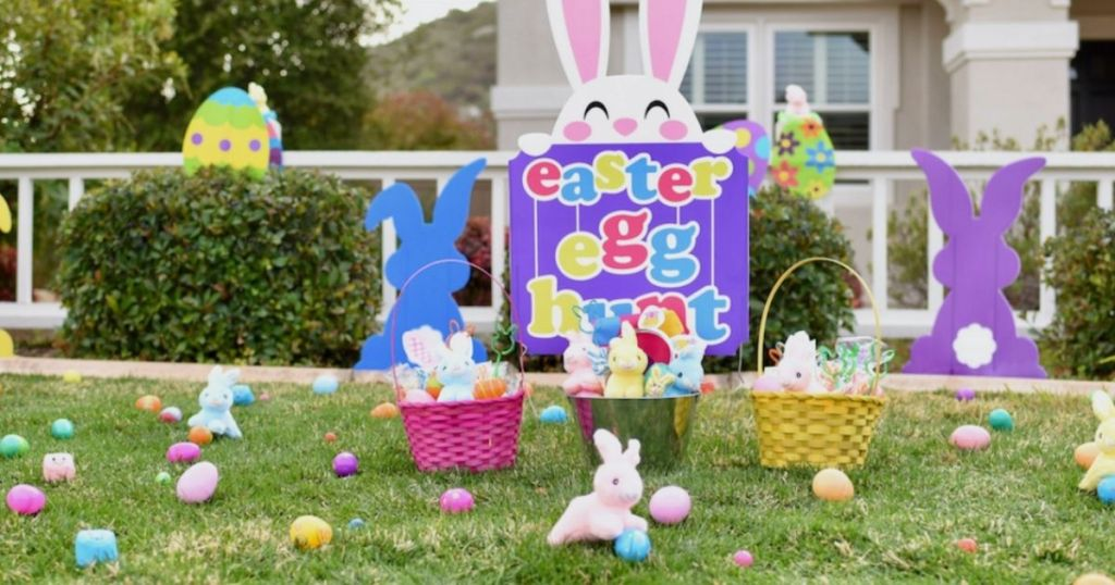 Easter egg sign and eggs