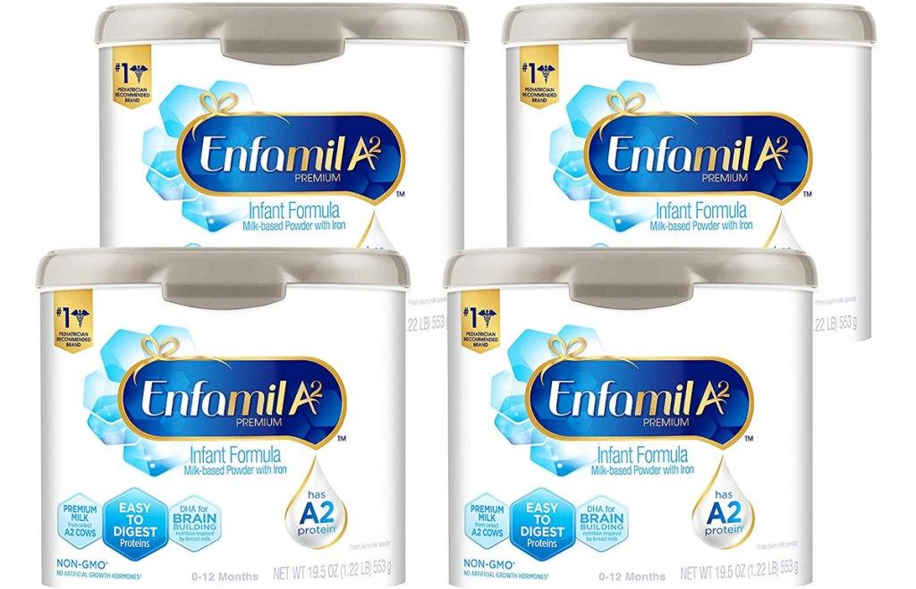 four containers of Enfamil A2 Premium Infant Formula