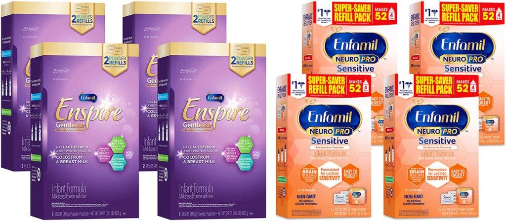 two 4-pack sets of enfamil infant formula boxes