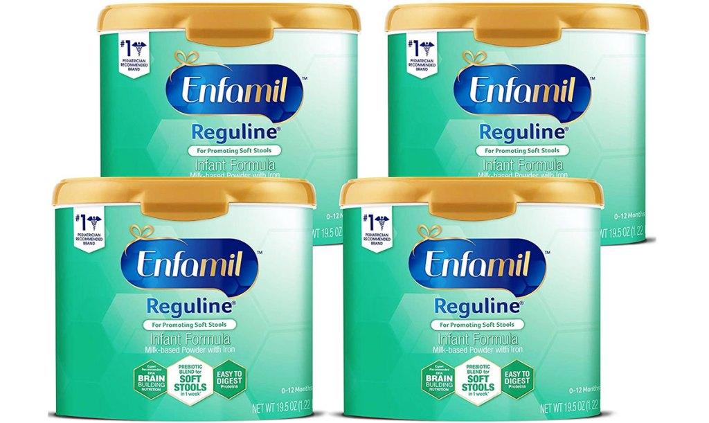 four containers of Enfamil Reguline Infant Formula