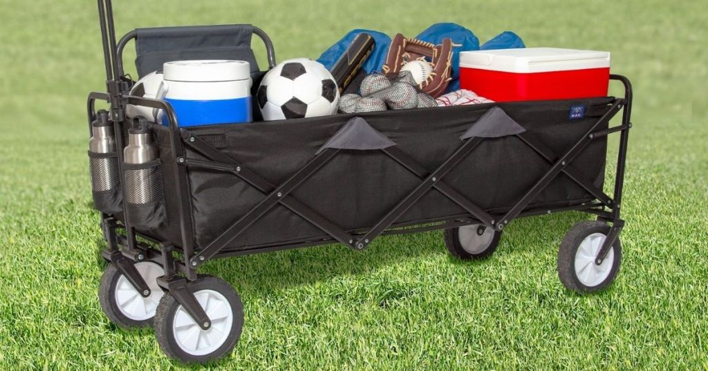 wagon with sports equipment in it