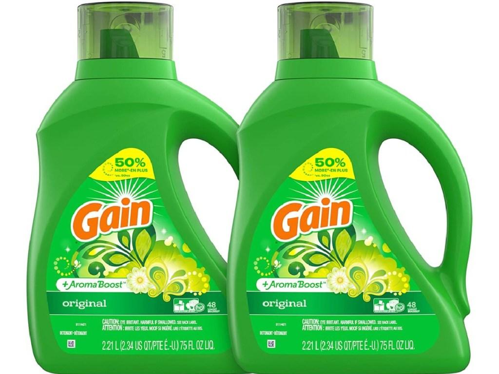 2 bottles of gain laundry detergent