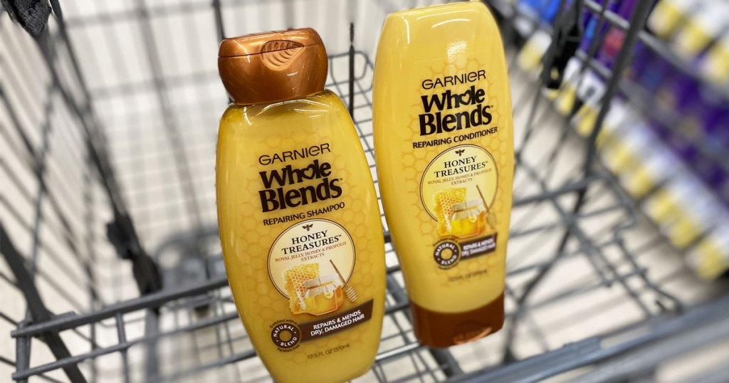 garnier whole blends shampoo and conditioner in walgreens shopping cart