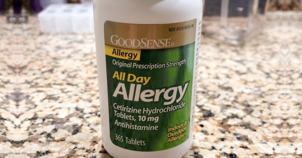 Goodsense Allergy Tablets on kitchen counter