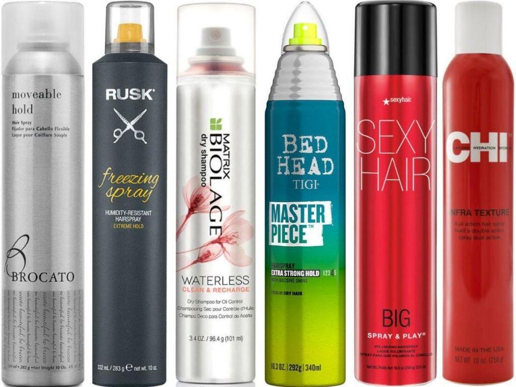 row of hairsprays