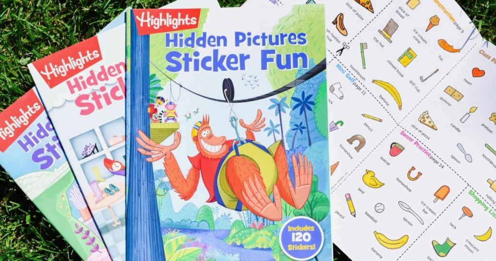 Highlights Hidden Pictures Stick Fun Books on the grass